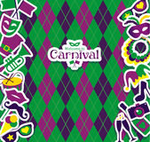 Carnival icons and seamless pattern Stock Photo