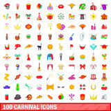 100 carnival icons set, cartoon style Royalty Free Stock Photos