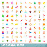 100 carnival icons set, cartoon style. 100 carnival icons set in cartoon style for any design vector illustration Royalty Free Stock Photos