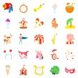 Carnival icons set, cartoon style Royalty Free Stock Photos