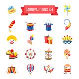 Carnival Icons Set. Carnival fairgound and attractions park icons set isolated vector illustration Stock Images