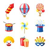 Carnival Icons Set. Carnival festive and circus show decorative icons set isolated vector illustration Royalty Free Stock Image