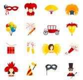 Carnival icons set flat Stock Photo