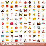 100 carnival icons set, flat style. 100 carnival icons set in flat style for any design vector illustration vector illustration