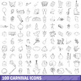 100 carnival icons set, outline style. 100 carnival icons set in outline style for any design vector illustration Royalty Free Stock Photos