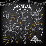 Carnival icons, sketch design. Royalty Free Stock Photography
