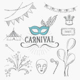 Carnival icons, sketch design. Royalty Free Stock Images