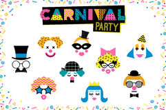 Carnival illustration in Memphis style. Vector Carnival masks with geometric ornaments in the style of 80-90 Stock Images