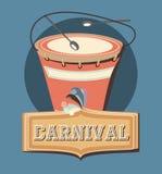 Carnival instrument musical drum and sticks retro. Vector illustration royalty free illustration