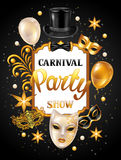 Carnival invitation card with gold masks and decorations. Celebration party background Stock Images