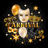 Carnival invitation card with gold masks and decorations. Celebration party background Stock Photos