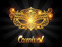 Carnival invitation card with golden lace mask. Celebration party background.  stock illustration
