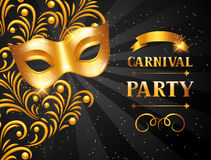 Carnival invitation card with golden mask. Celebration party background.  vector illustration
