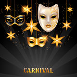 Carnival invitation card with golden masks and stars. Celebration party background Stock Image