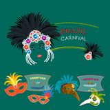 Carnival Italy and Brazil web banner masks celebration festive carnaval masquerade background festival flyer vector. Carnival Italy and Brazil web banner masks Stock Photography