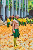 Carnival of Ivrea. The battle of oranges. Stock Photo