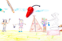 Carnival, kids drawing Royalty Free Stock Photo