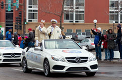 Carnival King and Queen of Royalty. Saint Paul, Minnesota, USA – January 30, 2016: King and Queen members of royalty at Grande Day Parade celebrating stock photo