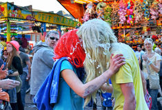 Carnival kiss in Nivelles Royalty Free Stock Images