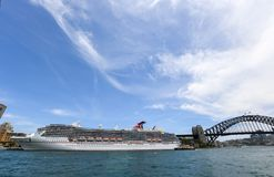 Carnival Legend Cruise Ship. Sydney, Australia - December 09, 2018: The ocean cruise liner Carnival Legend is docked at the Overseas Passenger Terminal in Sydney stock image