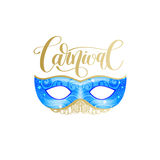 Carnival lettering logo design with mask and hand written word Royalty Free Stock Photos