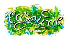 Carnival Lettering for Rio de Janeiro, Background Colors of the Brazilian Flag. Calligraphy Text for Party. Illustration Vector royalty free illustration