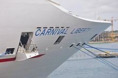 Carnival Liberty cruise ship bow stock photos