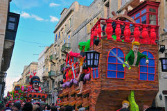 Carnival of Malta 2014. VALLETTA, MALTA - MARCH 1: Spring carnival on street of Valletta downtown on march 1, 2014. Valletta is a capital and the largest city of Stock Photos