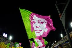 Carnival 2019 - Mangueira. Rio, Brazil - march 04, 2019: Mangueira during the Carnival Samba School Carnival RJ 2019, at Sambodromo attractive beauty brazilian royalty free stock photos