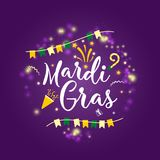 Carnival Mardi Gras greeting card with typography design. Carnival Mardi Gras  logo with hand drawn lettering. Card Booth Party Elements. hand drawn lettering Stock Photo