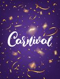 Carnival. Mardi Gras poster with Carnival lettering and gold shiny confetti. Fat Tuesday holiday background.  stock illustration