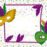 Carnival mardi gras poster with purple necklace frame with feathers and mask green and yellow over colorful confetti. Background vector illustration royalty free illustration