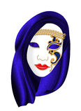 Carnival mask. Venetian carnival mask with blue headdress (illustration Royalty Free Stock Images