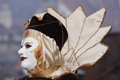 Carnival mask. White medieval carnival mask for Carnival Royalty Free Stock Photography