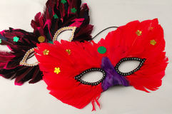 Carnival mask. Two colorful carnival mask on the table stock photo