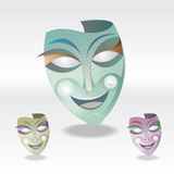 Carnival Mask. A three color different art Carnival Mask Royalty Free Stock Photos