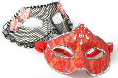 Carnival mask. Carnival red and black mask on white background Stock Image