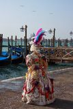Carnival mask. Elaborate costume of Carnivale participant- Venice, Italy Royalty Free Stock Photography
