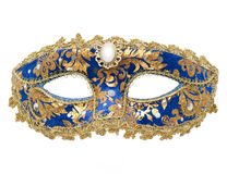 Carnival Mask. An isolated blue and gold carnival mask royalty free stock image