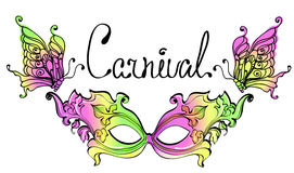 Carnival Mask. Colorful illustration with butterfly Stock Photography