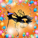 Carnival mask. Illustration of a Festive Background with elegant mask and colorful balloons and confetti Royalty Free Stock Image