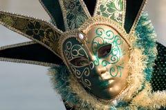 Carnival mask. Venetian carnival costume, enigmatic green eye Stock Photography