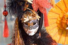 Carnival mask. Venetian carnival costume, chinese umbrella Stock Images