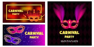 Carnival mask banner concept set, realistic style. Carnival mask venetian banner concept set. Realistic illustration of 3 carnival mask venetian vector banner Royalty Free Stock Photo