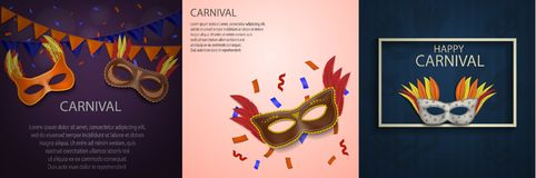Carnival mask banner concept set, realistic style. Carnival mask venetian banner concept set. Realistic illustration of 3 carnival mask venetian vector banner Royalty Free Stock Photography