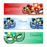 Carnival mask banners Stock Photography