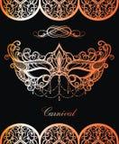Lace Carnival mask in gold on black background vector illustration