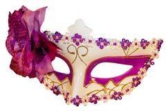 Carnival mask bow decoration flowers border  white Royalty Free Stock Image