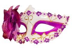 Carnival mask bow decoration flowers border  white Stock Images