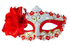 Carnival mask bow decoration flowers border  white Royalty Free Stock Photography